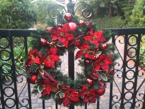 Large wreath with poinsettias